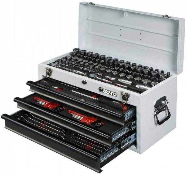 Boxo - 185-Piece Metric and SAE Tool Set with White 3-Drawer Hand Carry Box