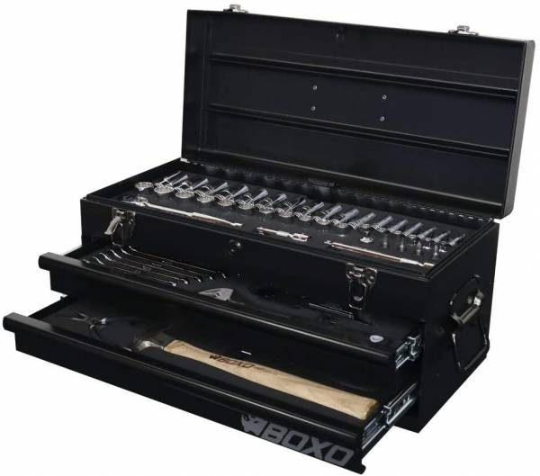 Boxo - BOXO USA Heavy Duty 113 Piece Metric Tool Set with 2 Drawer Hand Carry Tool Box - Matte Black