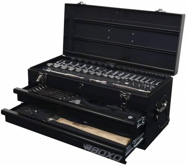 Boxo - BOXO USA Heavy Duty 113 Piece Metric Tool Set with 2 Drawer Hand Carry Tool Box - Matte Black